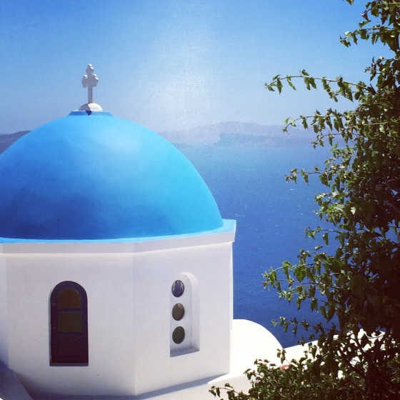 Santorini Greece view blue chapel